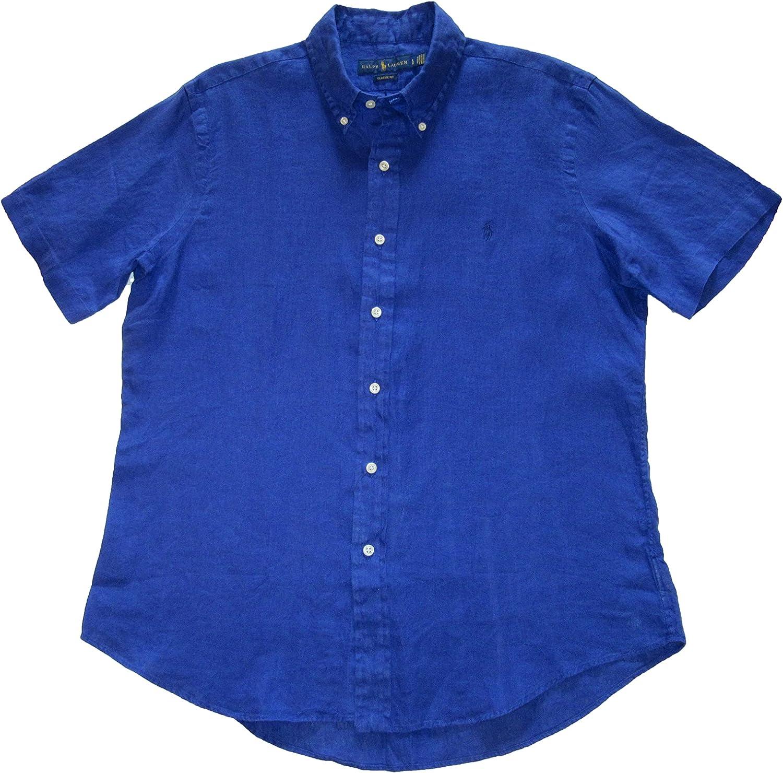 Ralph Lauren Polo Mens Classic Fit Linen Short Sleeve Button-Down Shirt
