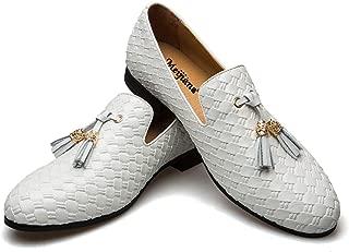 MEIJIANA Men's Vintage Leather Embroidery Noble Loafer Shoes Slip-on Loafer Smoking Slipper Tassel Loafer