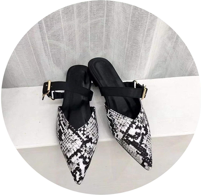 Monicas-house Women Slippers Pointed Toe Slides Mules Flat Heel Slippers Ladies Flip Flops shoes Snakeskin Sandals Summer shoes