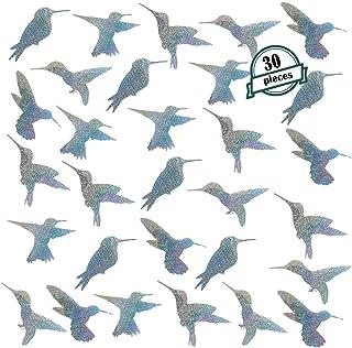30 Pieces Bird Deterrent Window Stickers for Bird Strikes, Anti Collision Glass Alert Decals Prevention, Prevent Birds from Hitting Windows, Hummingbird-Shaped