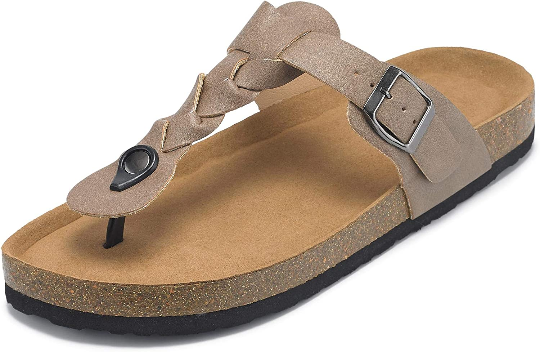 Womens Cork Flip Flop Sandals T Strap Buckles Braided Thong Slides Flatform Sandals