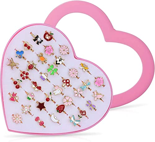 Czemo 36cps Bagues Enfants Fille Réglables Bague pour Enfant avec Boîte De Coeur Rose Filles Bijoux Cadeau Bande Dess...