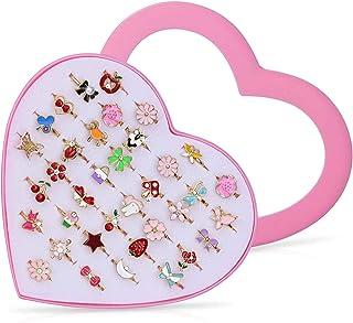 Czemo Anelli per Bambini con Vetrina a Forma di Cuore, Anelli Gioielli Regolabili Rhinestone per Bambini Favori di Festa d...