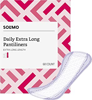 Amazon Brand – Solimo Daily Extra Long Pantiliner, Extra Long Length, 68 Count (Pack of 1)