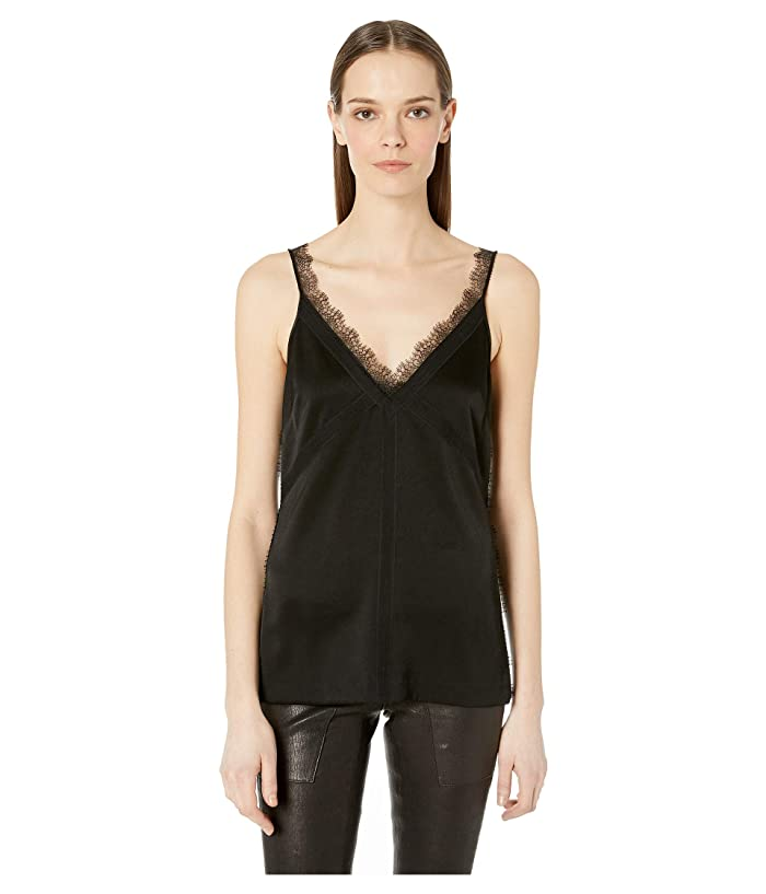 GREY Jason Wu Satin Back Crepe V-Neck Tank Top (Black/Black) Women