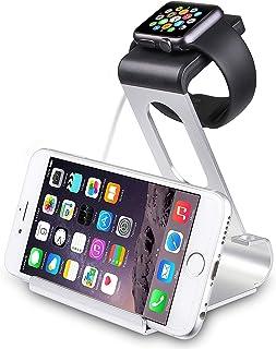 Suporte e Estação de Carga Sparin para iPhone e Apple Watch (Cor Prata)