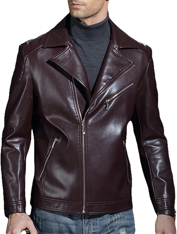 PENER Men Fashion Suit Collar Leather Jacket car Leather PU Leather Coat