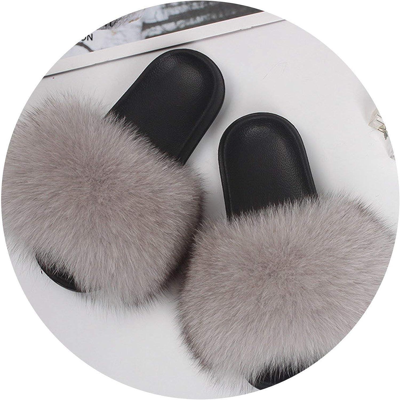 Zalin Fox Fur Slippers Woman Genuine Raccoon Hair Casual Outdoor Fluffy Fur shoes Sandals