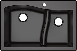 Kraus Quarza Kitchen Sink | 33-Inch 60/40 Bowls | Black Granite | KGD-442 model