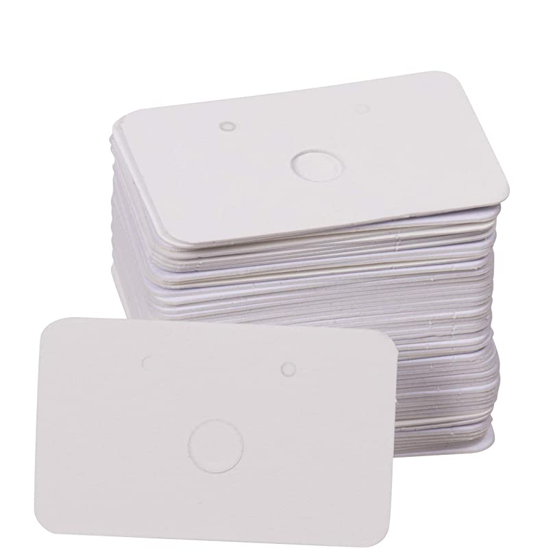 Earring Cards - 300-Pack Earring Card Holder, Paper Hanging Jewelry Display Cards for Earrings, Ear Studs, White 1.6 x 1 Inches