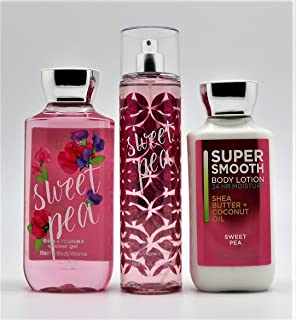 Bath and Body Works Sweet Pea Set, Body Lotion, Shower Gel and Fragrance Mist, Full Size