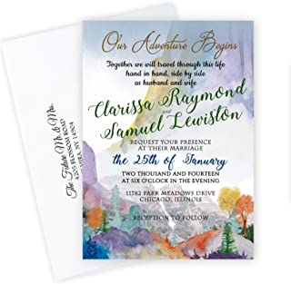 Wedding Invitations Personalized Mountain Forest with Envelopes Qty of Custom 50 Invites