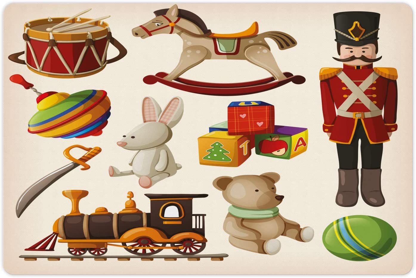 Lunarable Nursery Pet Mat for Food and Wooden Selling selling Water Toy Vintage Sale price