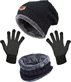 HindaWi Black Slouchy Beanie Scarf Gloves Set For Women Skull Cap Infinity Scarves Touch Screen Mittens