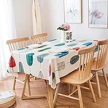 Highlyking Nappe rectangulaire en tissu anti-taches, imperméable, lavable, avec revêtement en PVC, pour cuisine, table, ex...