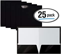 2 Pocket Glossy Laminated Black Paper Folders, Letter Size, Black Paper Portfolios by Better Office Products, Box of 25 Black Folders