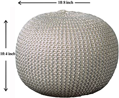 "L.R. Resources Fairbanks Bone Silver Knitted Pouf Ottoman, 1'4""X1'8"", Ivory/silver -"