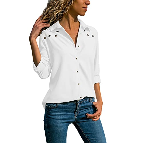 b806958ae1a6c Ecrocoo Women V Neck Cuffed Long Sleeves Button Down Casual Chiffon T Shirt  Blouse Soild Tops
