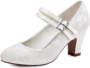 ElegantPark HC1701 Mujer Zapatillas Tacón Alto Mary Jane Hebilla Satén Cordones Zapatos de Boda