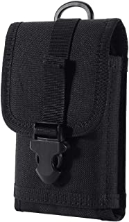 Zeato EDC Tactical Military MOLLE Phone Pouch Waist Clip-On Holster Bag with Belt Clip Nylon Touch Duty for iPhone 11/X/XR/XS 7 Plus 6S 6 Plus Galaxy Note 5 S10 S8 S7 Edge LG Sony and More (Black)