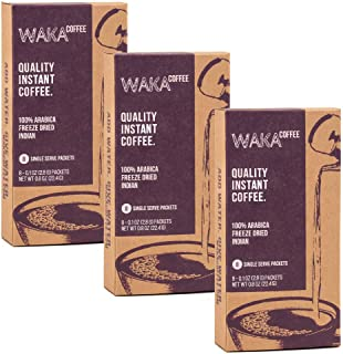 Waka Coffee Quality Instant Coffee, Indian, Light Roast | 100% Arabica, Freeze Dried, 3 Box Value Package | We Bring The Instant Back