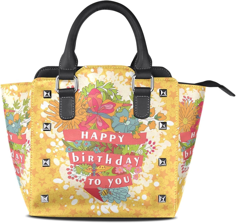 My Little Nest Women's Top Handle Satchel Handbag Stylish Happy Birthday Flowers Ladies PU Leather Shoulder Bag Crossbody Bag