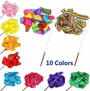 Smartlife15 10 Colors Gymnastic Dance Ribbon Streamer 4M Dancing Baton Gym Rhythmic Ribbons with Wand Art Artistic Gymnastics Ballet Twirling Rod Stick for Women Girls Kids