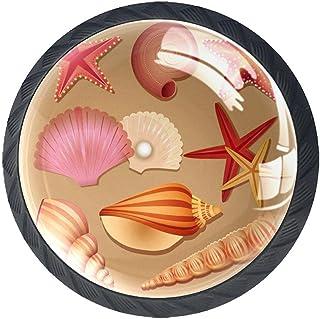 Xingruyun Poignée De Tiroir Coquillages Coquillages Etoile de Mer Boutons de Meuble Enfant Lot de 4 Boutons de Porte Bouto...