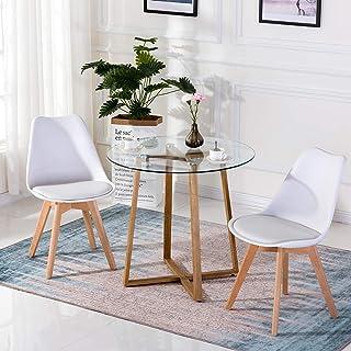 H.J WeDoo Table à Manger en Verre Ronde Scandinave Transparent 80 * 80 * 75 cm