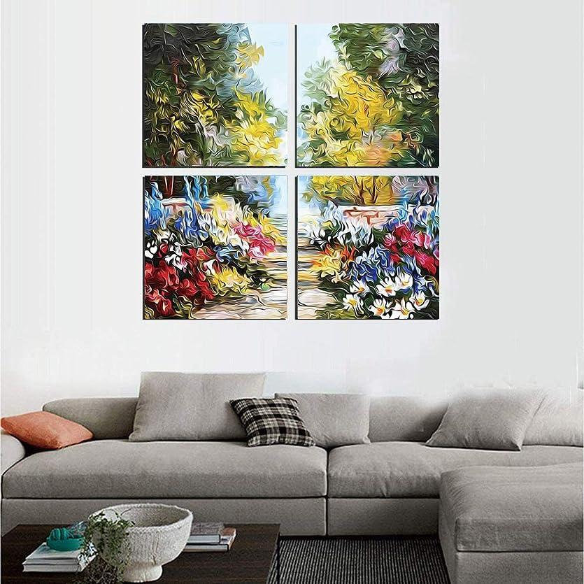 退屈ディプロマ囲む抽象絵画 アートパネル アートフレーム 秋の季節と自然の牧草地の春の油絵風ビュー 40x40cm 花 フレームポスター 壁絵谷HD しゃしん 木枠付きのモダン 新築飾り