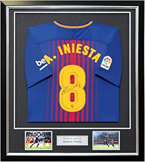 Andres Iniesta Signed 2017-18 Barcelona Home Jersey In Deluxe Black Frame  With Silver Inlay 71d076c18