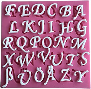 FLY 26 English Letters Fondant Silicone Cake Mold Cooking Tools,Pink