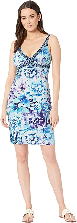 Aqua Petals Over the Shoulder Spa Dress Cover-Up