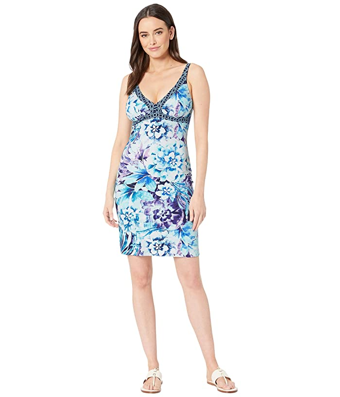 95525c8df1a43 Tommy Bahama Aqua Petals Over the Shoulder Spa Dress Cover-Up (White) Women's  Swimwear