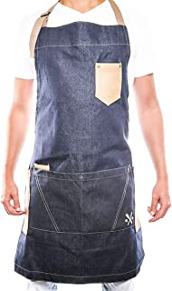 Apron for Men and Women Chef, Useful Multifunctional Pockets, Ideal for BBQ, Grill, Kitchen or Restaurants, The Coolest Inexpensive Gift for Grilling dads, Blue Denim