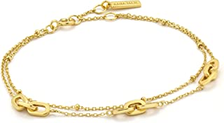 925 Sterling Silver Minimalist Three Chain Multi Layer Bangle Bracelet for Women, 14ct Gold Plated
