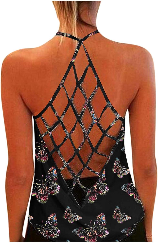 Sleeveless Tops for Women Dressy,Womens Sunflower Printed Open Back Criss Cross Workout Blouse