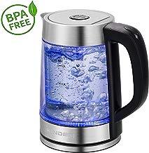 2L Edelstahl Glas Wasserkocher 2000W Teekocher Teekessel LED Beleuchtung Blau