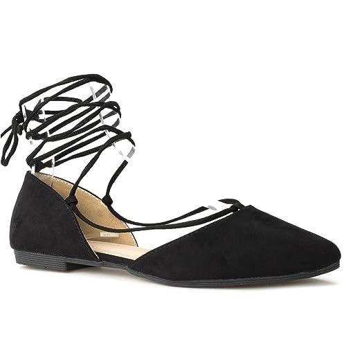 fac93c637af RF ROOM OF FASHION Vegan Pointed Toe D Orsay Ballet Flats - Ankle Strap Wrap