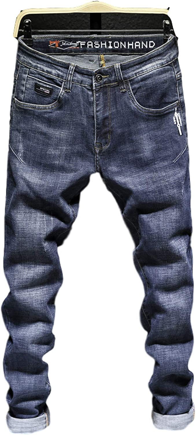Huntrly Men's Jeans overseas Spring and Printe Regular dealer Fashion Autumn Personality