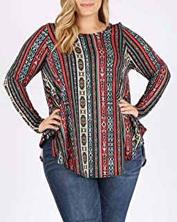 LoveCurvy Plus Size Women's Round Neck Striped Long Sleeves Flowy Knit Top