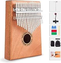 Kalimba 17 Key Thumb Piano Mahogany with Study Instruction, Thumb Picks, Tuning Hammer, Pickup, Key Stickers, Carrying Bag for Beginners Kids Professional, by Vangoa