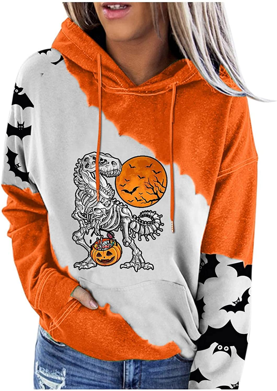 felwors Sweatshirt for Women, Womens Pullover Hooded Tops with Pockets Casual Long Sleeve Halloween Hoodie Sweatshirts