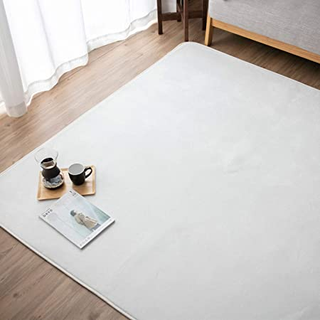 【Amazon限定ブランド】リプラクオール 洗える フランネル ラグ 約185×185cm ムジ柄・ホワイト RP002-185MATWH