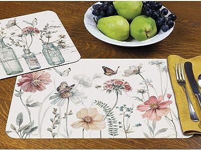 Amazon Com Counterart Set Of 4 Reversible Placemats Paisley Snowman Kitchen Dining