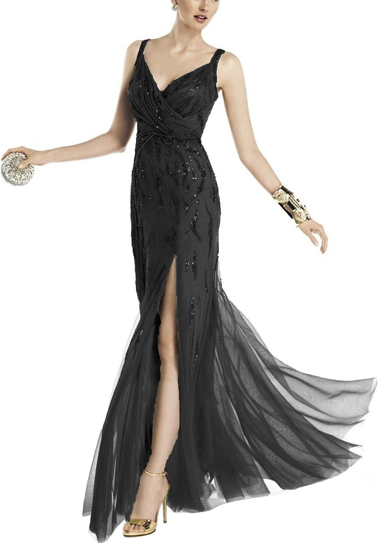 SecretCastle Women's VNeck ALine Evening Dress Side Split