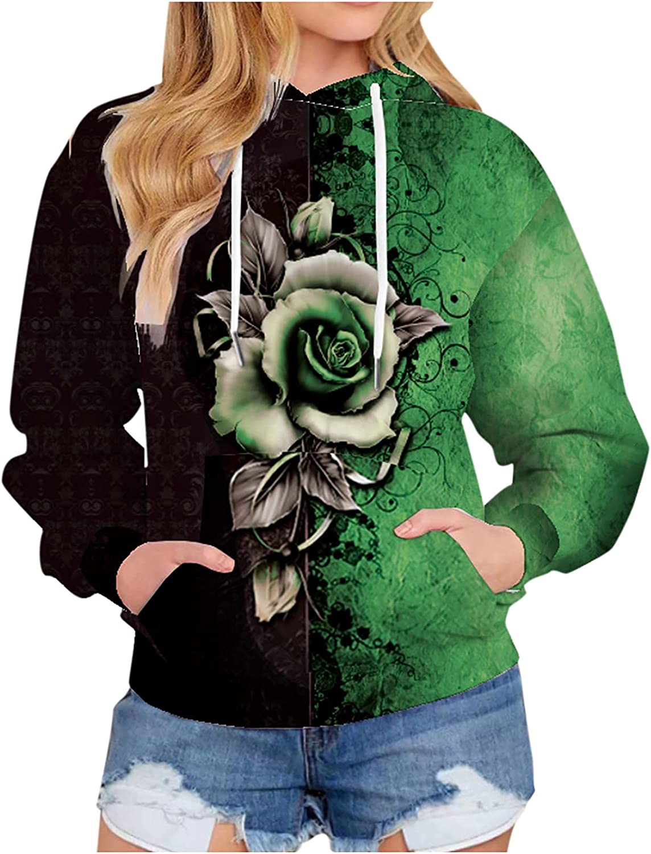 Gradient Print Sweatshirt for Women,Casual Hoodie Drawstring Lon
