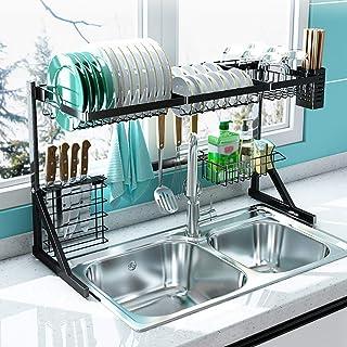 GOHHK Égouttoir à Vaisselle sur évier, comptoir en Acier Inoxydable pour égouttoir, Organisateur de Rangement avec Support...