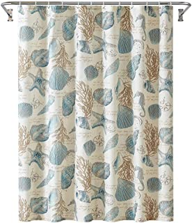 Yostev Starfish and Seashells Ivory Bathroom Fabric Shower Curtain with Hooks,Unique 3D Printing,Decorative Bathroom Accessories,Water Proof,Reinforced Metal Grommets 72x72 Inches