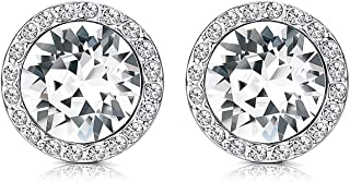 KesaPlan Crystals Stud Earrings for Women, Made of Swarovski Crystals, Round-Cut Halo Swarovski Crystals Earrings Set with 925 Sterling Silver Post, Hypoallergenic Jewelry